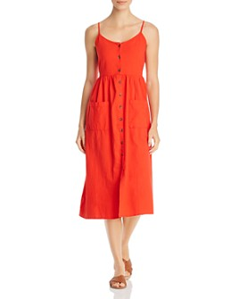 Vero Moda - Wanda Button-Front Cotton Midi Dress