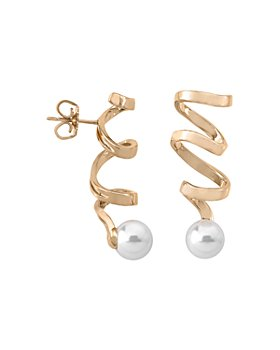 Majorica - Simulated Pearl Spiral Drop Earrings in Gold-Plated Sterling Silver or Sterling Silver
