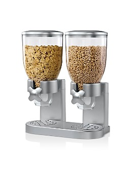 Honey Can Do - Double Dry Food and Cereal Dispenser with Portion Control, Silver
