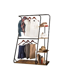 Honey Can Do - Rustic Z-Frame Wardrobe with Shelves
