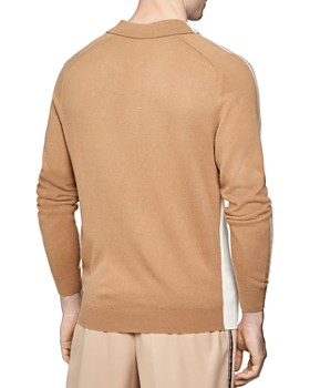 REISS - Silver Thorn Intarsia Half-Zip Regular Fit Polo Shirt