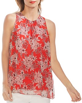 VINCE CAMUTO - Botanica Floral-Print High-Neck Top