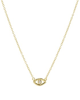 """AQUA - Evil Eye Pendant Necklace in 18K Gold-Plated Sterling Silver, 16"""" - 100% Exclusive"""