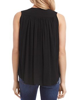 Karen Kane - Shirred Sleeveless Button-Down Top