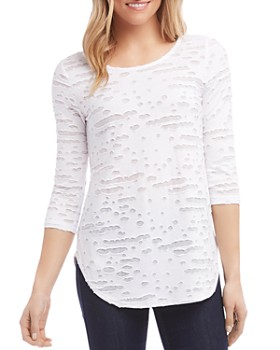 Karen Kane - Shredded Three-Quarter Sleeve Tee