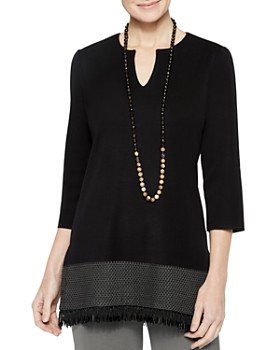 Misook - Beaded Fringe Tunic Top