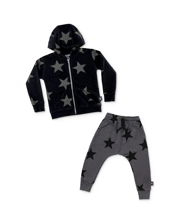 NUNUNU - Unisex Star Print Hoodie & Jogger Pants - Little Kid