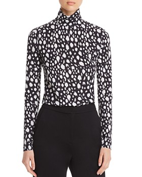 St. John - Abstract Leopard-Print Fitted Turtleneck