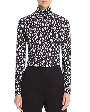St. John Fitted Abstract Leopard Print Turtleneck