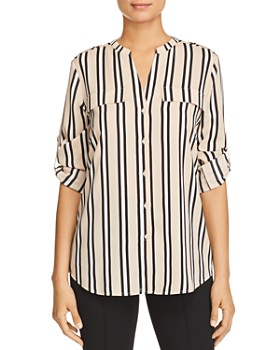 5ea75e21c2be0d Calvin Klein - Striped Button-Down Top ...