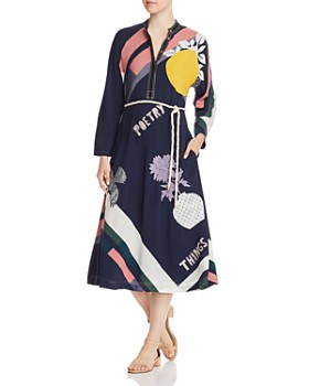 Tory Burch - Embellished Scarf-Printed Midi Dress