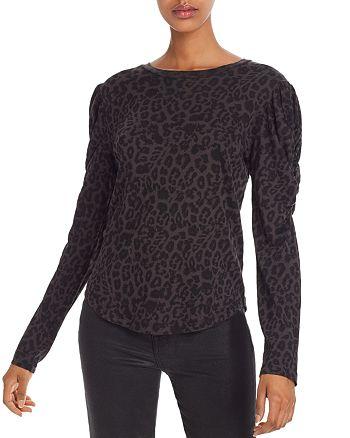 LNA - Puff-Sleeve Leopard Print Tee