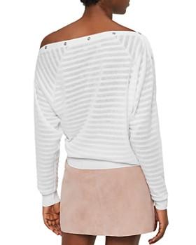 ALLSAINTS - Elle Snap Detail Striped Sweater