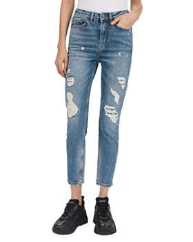 The Kooples - Aged Mid-Rise Cropped Slim-Leg Studded Distressed Jeans in Blue Denim
