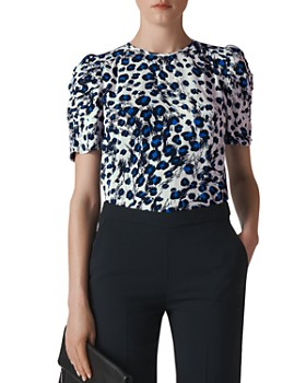 Whistles - Ruched-Sleeve Leopard-Printed Top