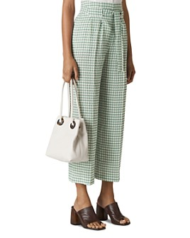Whistles - Gingham Wide-Leg Cropped Pants