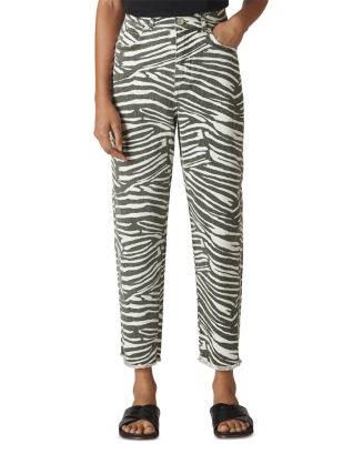 High Rise Cropped Barrel Jeans In Zebra Print by Whistles