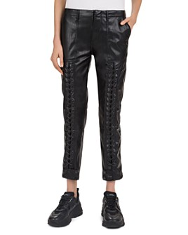 The Kooples - Lace-Up Detail Faux-Leather Pants