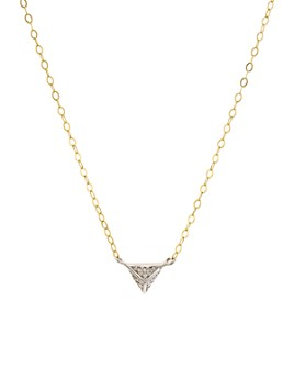 """Bloomingdale's - Diamond Triangle Pendant Necklace in Gold-Plated Sterling Silver, 15"""" - 100% Exclusive"""
