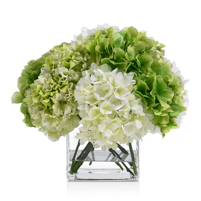 Diane James Home - Blooms Green & White Hydrangea Faux Floral Arrangement in Glass Cube