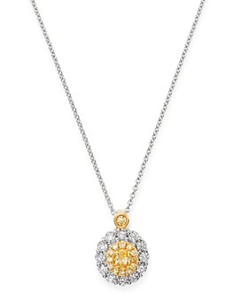 "Bloomingdale's - Oval Yellow & White Diamond Necklace in 18K Yellow & White Gold, 17"" - 100% Exclusive"