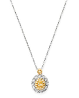 """Bloomingdale's - Oval Yellow & White Diamond Necklace in 18K Yellow & White Gold, 17"""" - 100% Exclusive"""