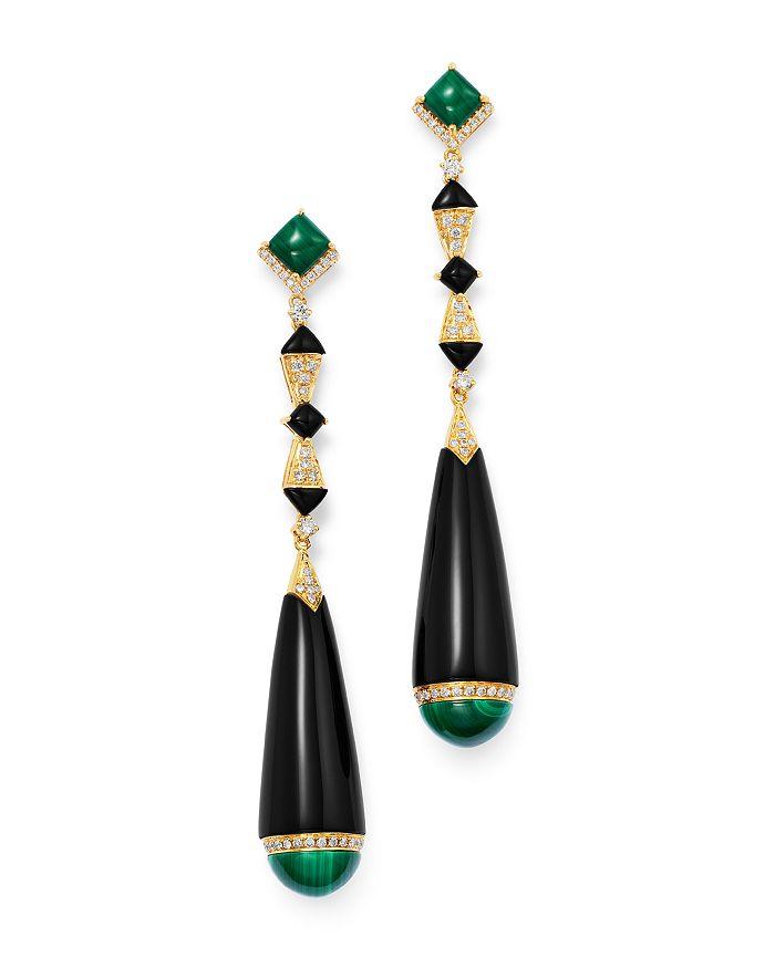 Black Onyx Malachite Diamond Drop Earrings In 18k Yellow Gold 100 Exclusive