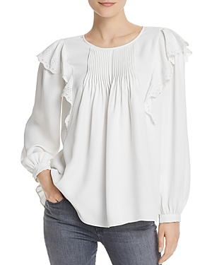 Joie Tops ACELYNN PINTUCKED RUFFLE-TRIM TOP