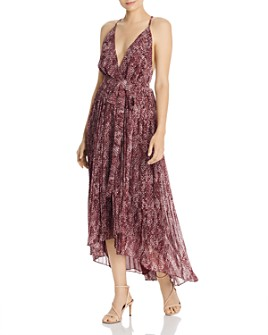 Fame and Partners - Snakeskin-Print High/Low Wrap Dress