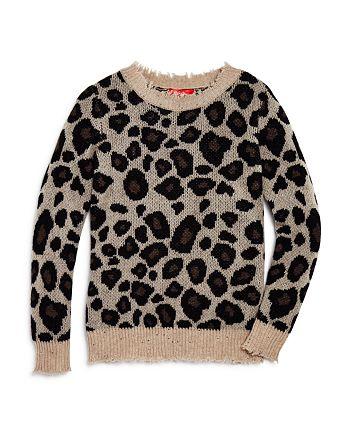 AQUA - Girls' Leopard Print Cashmere Sweater, Big Kid - 100% Exclusive