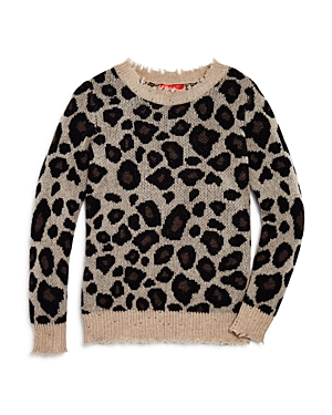 Aqua Girls' Leopard Print Cashmere Sweater, Big Kid - 100% Exclusive
