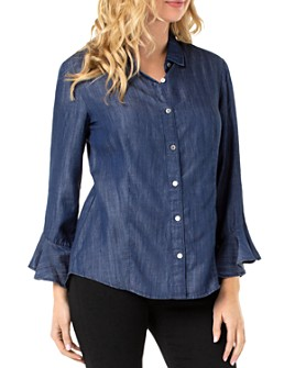 Liverpool Los Angeles - Chambray Flounce-Sleeve Top