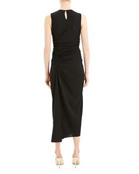 Theory - Sleeveless Ruched Silk Blend Midi Dress