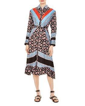 44f3cde2f Sandro - John Color-Blocked Mixed-Print Midi Dress ...