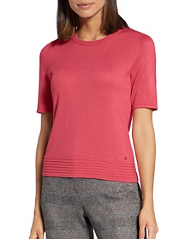 BASLER - Ribbed-Trim Short-Sleeve Sweater