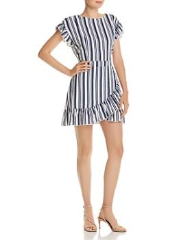 AQUA - Ruffled Striped Tie-Waist Dress - 100% Exclusive
