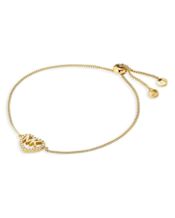 Michael Kors - Pavé Logo Heart Slider Bracelet in 14K Gold-Plated Sterling Silver, 14k Rose Gold-Plated Sterling Silver or Sterling Silver
