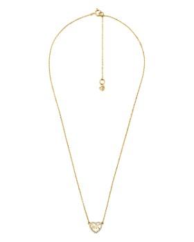 "Michael Kors - Pavé Logo Heart Pendant Necklace in 14K Gold-Plated Sterling Silver, 14k Rose Gold-Plated Sterling Silver or Sterling Silver, 16"""