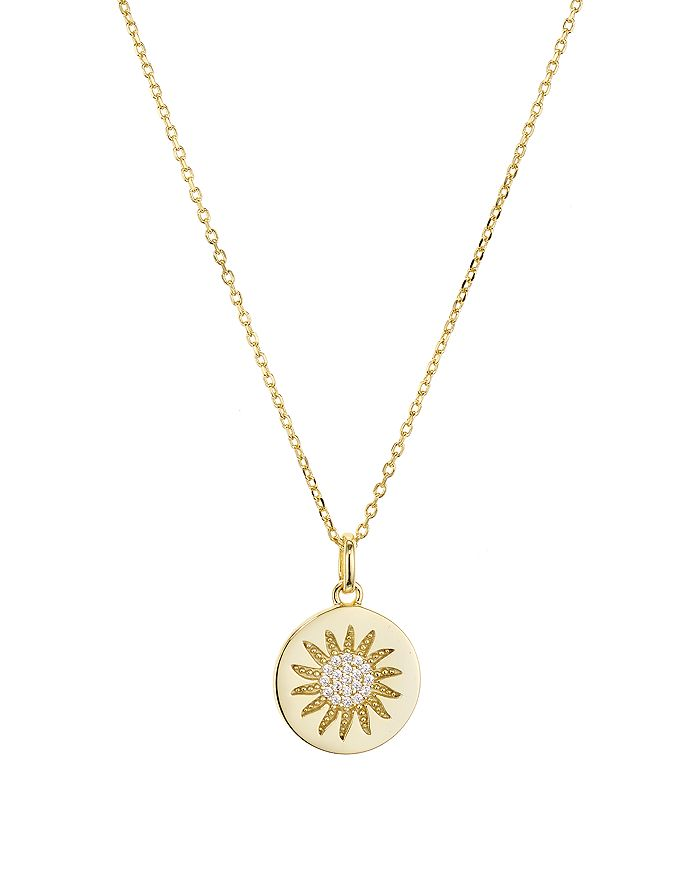 """AQUA - Sunburst Disc Pendant Necklace in Gold-Plated Sterling Silver, 16"""" - 100% Exclusive"""