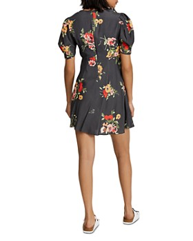 Free People - Neon Garden Puff-Sleeve Mini Dress