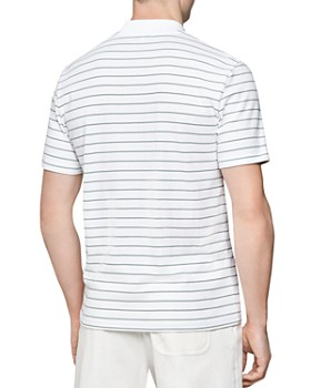 REISS - Golden Stripe Zip-Neck Slim Fit Polo Shirt