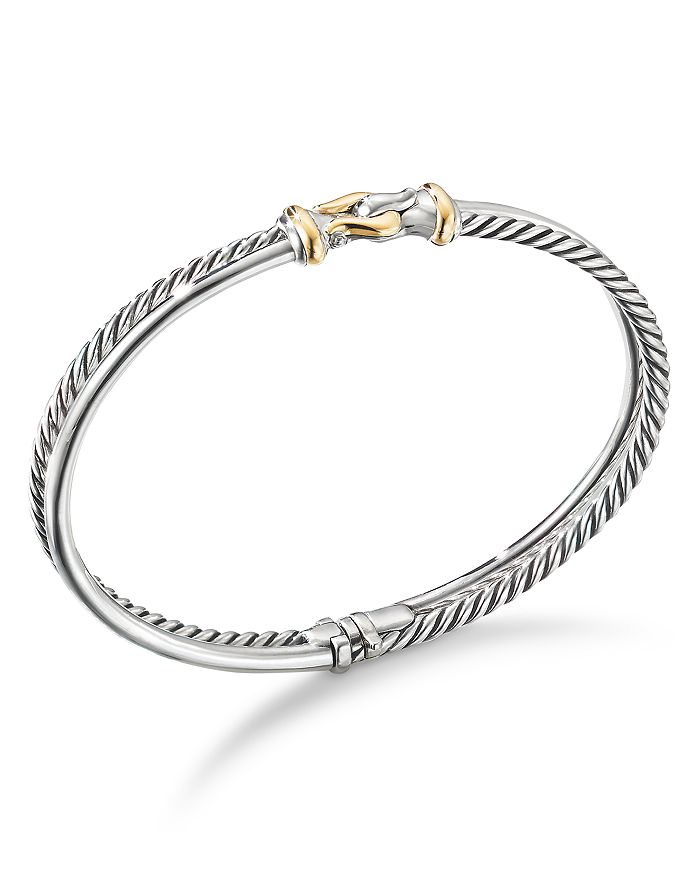 David Yurman - Sterling Silver Two-Row Cable Buckle Bracelet with 18K Yellow Gold