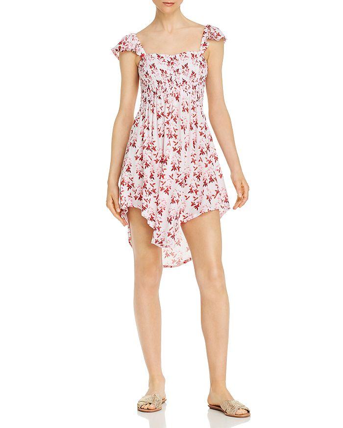 Tiare Hawaii - Hollie Smocked Botanical-Print Mini Dress