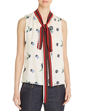Tory Burch Tops EMBROIDERED TIE-NECK TOP