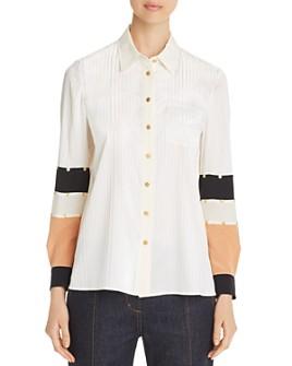Tory Burch - Stud-Embellished Silk Patchwork Shirt