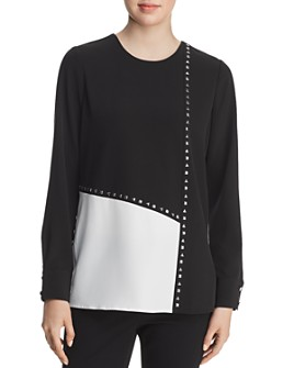 Calvin Klein - Studded Color-Block Blouse