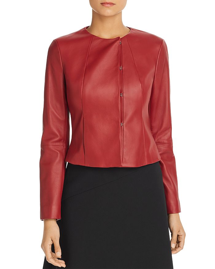BOSS - Sabarbie Cropped Leather Jacket