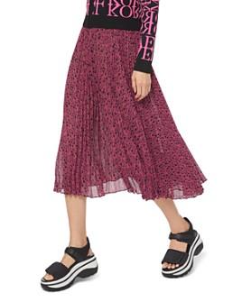 MICHAEL Michael Kors - Pleated Logo-Print Georgette Midi Skirt