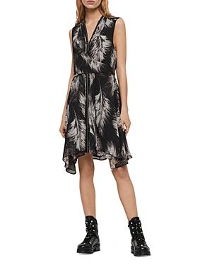Allsaints Jayda Feather Print Zip-Front Dress