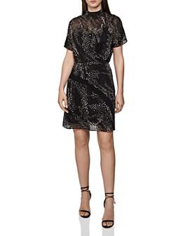 REISS - Amelia Soft Burnout Flippy Dress